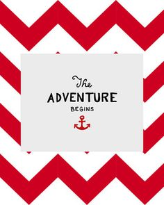 """The Adventure Begins"" Nautical Red Chevron Classroom Sign - J Audrey - TeachersPayTeachers.com"