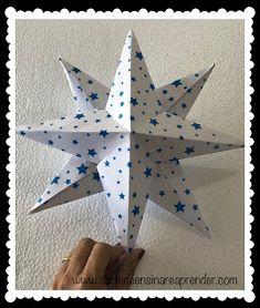 A Arte de Ensinar e Aprender: Estrela 3D em dobradura 3d, Home Decor, Teaching, Diy Creative Ideas, Crafts, Creativity, Manualidades, Interior Design, Home Interior Design