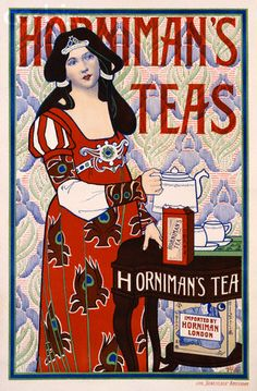 H. Banks / Horniman's Tea advertising poster, Art Nouveau style, depicts woman in  medieval theme dress holding teapot pouring cups of tea, c. 1900, UK