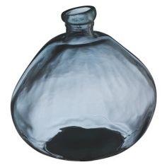 ESTERBAN Grey round recycled glass vase