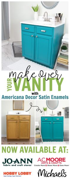 Making over your bathroom vanity is easy with Americana Decor Satin Enamels. Pick up a jar at your local craft store today! #decoartprojects