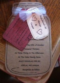 Mason jar wedding invites!!...could be shower invites also... :)
