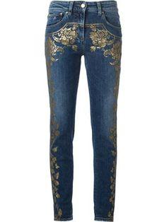 джинсы кроя скинни с цветочной аппликацией