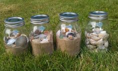 Fun mason jar decoration for your beach vacation finds.