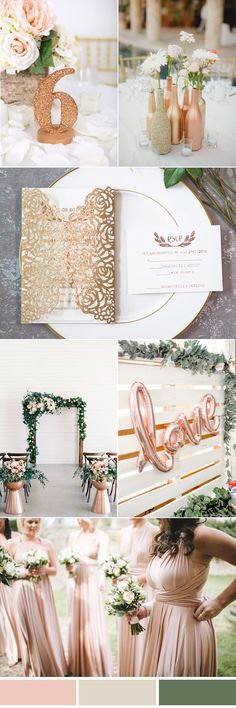 neutral rose gold and ivory white simple country wedding colors