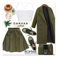 """""""Olive Green Self Tie Button Front Circle Skirt"""" by pavicmartina ❤ liked on Polyvore featuring Lands' End, Theory and Jimmy Choo"""