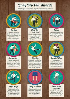 Lindy Hop Fail Awards (mock merit badges for fail moments on the swing dance floor) by Roland MacDonald, via Behance. These don't apply to ONLY lindy but all types of swing xD