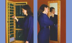 Outwater's new Jewelry-Closet Cabinet™ will not only enable you to easily organize and protect your necklaces, rings and earrings in a perfect array, with the cabinet door closed, it provides a full mirror for your convenience.