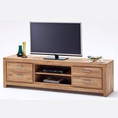 Santos lcd TV stand in solid knotty oak with 4 drawers - 24292 wooden TV stands, TV units, cabinets & wall entertainment units, modern & contemporary. Bedroom Tv Stand, Swivel Tv Stand, Lcd Tv Stand, Home Tv, Tv Unit Furniture, Furniture Design, Tv Room Design, Tv Rack Design, Furniture
