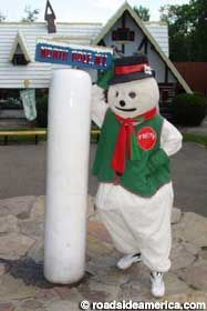 The world's first theme park still celebrates Christmas all summer. Holiday-themed kiddie rides, costumed characters, and a perpetually frozen Pole. Frosty The Snowmen, Snowman, Old Forge, Essex County, Upstate New York, Santas Workshop, Character Costumes, North Pole, Vacation Ideas