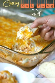 This dip is to die for!!! Cheesy Hot Wing Dip