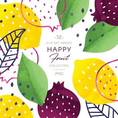 Proud to present you my new Colorful Fruits watercolor clip art set. Full of simple fruit illustrations, this collection is perfect for easy design of nursery prints, creating patterns or anything else you can think of! Fruit Illustration, Food Illustrations, Botanical Illustration, Happy Fruit, Watercolor Fruit, Colorful Fruit, Project, Clips, Abstract Shapes