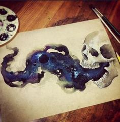 tattoo design, skull painting, watercolor skull galaxy painting --------------------------------------------------- This piece is astounding! The artist made a realistic skull, and realistic galaxy in smoke. Skull Painting, Galaxy Painting, Space Painting, How To Paint Galaxy, Performance Artistique, Totenkopf Tattoos, Kunst Tattoos, Future Tattoos, Tattoos For Guys