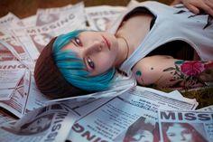 People 6016x4016 cosplay Life Is Strange Chloe Price women blue hair tattoo bra hat
