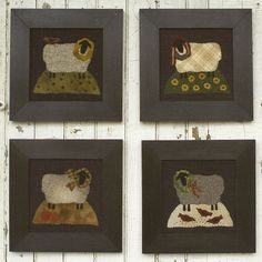 Primitive Folk Art Wool Applique Pictures:  YEARLY EWE. $7.75, via Etsy.
