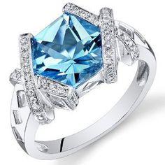 Peora 14K White Gold Special Cut Swiss Blue Topaz Diamond Ring (3.38 cttw)