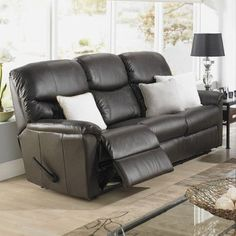 Relaxon Uno Leather Reclining Sofa Type: Manual, Upholstery: Leather /  Vinyl   Chocolate