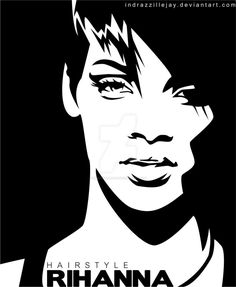 Stencil Printing, Stencil Art, Stenciling, Rihanna, Art Sketches, Art Drawings, Pop Art Portraits, Black White Art, Vector Portrait