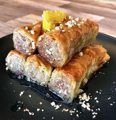 Greek baklava rolls recipe (Saragli) - My Greek Dish Greek Sweets, Greek Desserts, Greek Recipes, Baclava Recipe, Rolls Recipe, Baklava Roll Recipe, Pastry Recipes, Dessert Recipes, Desert Recipes