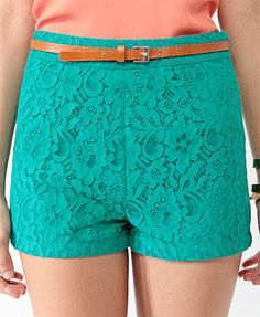 high waisted teal lace shorts