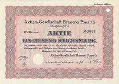 Aktien-Gesellschaft Brauerei Ponarth Aktie 1000 RM 1942