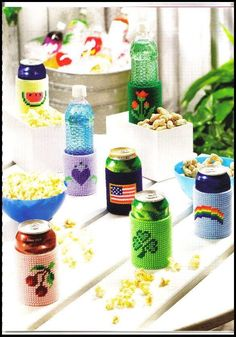 Plastic Canvas  Can /& Bottle Cozies Patterns  New  Annie/'s Attic