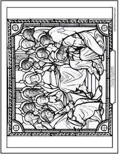 Pentecost Coloring Page The Holy Spirit Descended On Mary And Apostles As Tongues Of Fire Beautiful Stained Glass Picture Descent
