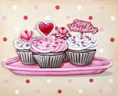Valentine's Day Cupcakes ready to frame matted print (fits frame) by Everyday is a Holiday Valentine Day Cupcakes, Pink Cupcakes, Valentines Day, Holiday Cupcakes, Cupcake Illustration, Vintage Bakery, Vintage Cupcake, Retro Vintage, Cupcake Kunst