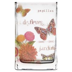 Glass vase with a butterfly motif