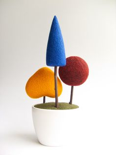 Home Decor  Multicolor Topiary Tree  Geometric by felttess on Etsy