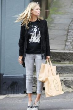 Kate Moss wearing Siwy Hannah Cropped Jean in Rain Wash, Tabitha Simmons Phoenix Buckled Calf Hair Ankle Boots and Kate Moss For Topshop Fringed Leather Jacket.