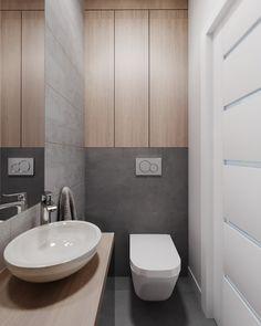 Przestrzeń otwarta i łazienki - Projektowanie i aranżacja wnętrz: biuro projektowe Warszawa / Ursynów - Zawicka-ID Concealed Cistern, Bathroom Design Small, Bathroom Interior, Ikea, New Homes, House Design, Toilets, Full Bath, Ikea Co