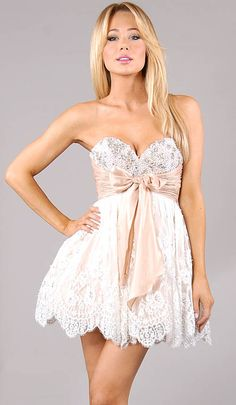 White Beaded Lace A-line Short Skirt With Pink Empire Waistband
