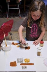 Spice painting! This looks fun and interesting. Could be good for exploring senses of sight AND smell.