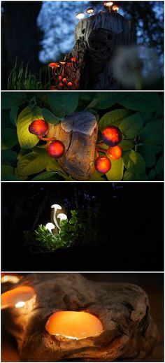 DIY Garden Lighting Glowing Mushroom Tutorial + link to video. Uses custom made circuitry with flat LED lights, then encased in paint-tinted silicone to form stem, and same silicone to form cap. Installed into bark pieces with drilled holes. (Could it be made for outdoor use: waterproof, heat/cold, & UV stable?)
