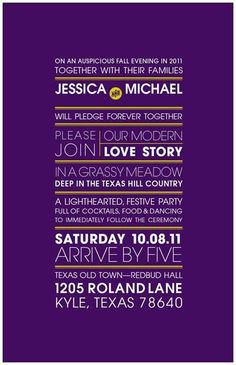 Modern/Rustic Wedding Invites :  wedding diy green invitations invites purple rustic texas white Invite