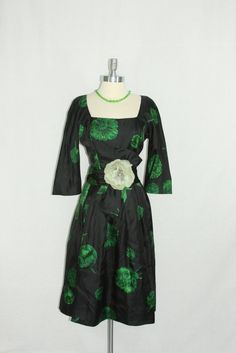 1950s  Dress  Vintage Black and Emerald Green Silk Floral Print Cocktail Party Frock by VintageFrocksOfFancy