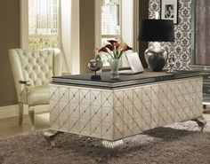 Hollywood Swank Cavier Desk with Metal Cabriole Legs By Aico Amini. Purchase Includes: Hollywood Swank Cavier Desk with Metal Cabriole Legs Only. Caviar. Desk.