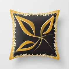 Gold Leaves Throw Pillow cover by Ramon Martinez Jr - $20.00