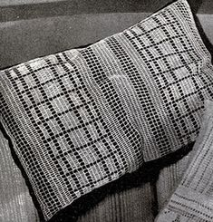 Modern Filet Crocheted Pillow Top crochet pattern published in Crochet Designs for the Hostess, Spool Cotton Co. #34.