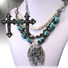 $28 Cross Angel Wings Western Jewelry Necklace Set