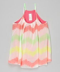 Another great find on #zulily! Pink & Lime Chevron Tank - Girls #zulilyfinds