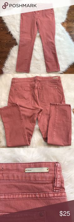 """Anthropologie Pilcro Stet Fit Pink Skinny Jeans Anthropologie Pilcro & the Letterpress stet fit slim straight jeans in excellent condition.  Lovely salmon pink color.  These mid-rise jeans are slim though the hip & thigh with a straight, slim leg.  Traditional 5-pocket styling.  Zip fly with button closure.  Front rise is about 9,"""" inseam is approximately   28,"""" waist is about 34.""""  99% cotton, 1% spandex. Size 32. Anthropologie Jeans"""