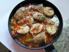 PEPPERED MACKEREL FISH SAUCE Mackerel Fish, Rice Ingredients, Fish Stew, Pepper Seeds, Nigerian Food, Fried Vegetables, Vegetable Stir Fry, Fish Sauce, Tomato Sauce