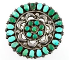 Large Vintage Navajo Hand-made Sterling Silver & Turquoise Rosette Petit Point Wheel Pin Brooch
