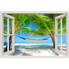 Window Frame Mural Relaxed beach Huge size Peel and Stick