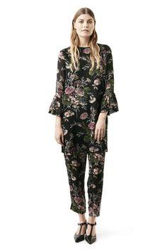 Bartlett Georgette Mini Dress, Black Bouquet