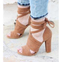 Dorris Taba Süet Bilek Bağlamalı Topuklu Ayakkabı