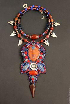 "Buy ""Tomiris"" - ethnic jewelry set - necklace and bracelet - combo, ceramic, ethnic, amazon"