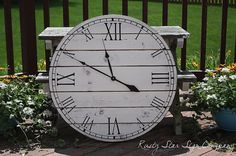 32 Inch Rustic Wall Clock, Large Wooden Clock, Distressed Clock, Farmhouse Clock, Roman Numeral, Rustic Clock, Handcrafted Clock, Handmade by RustyStarSignCompany on Etsy https://www.etsy.com/listing/272213410/32-inch-rustic-wall-clock-large-wooden